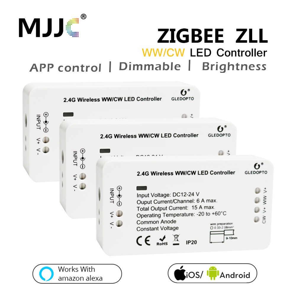 ZIGBEE WW CW Controlador LED inteligente Compatible casa puente atenuador ZIGBEE para tira LED 24V DC 12V Alexa de Amazon Echo ZLL controlador