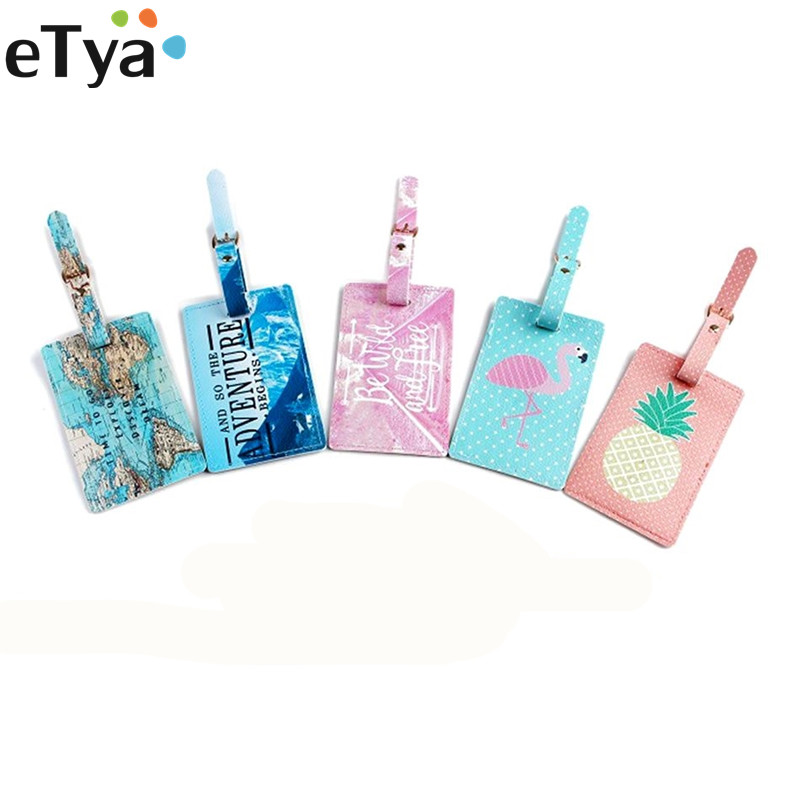 Fashion Cartoon Animal Fruit Travel Accessories Women Men Luggage Tag PU Leather Suitcase Baggage Tag ID Address Label