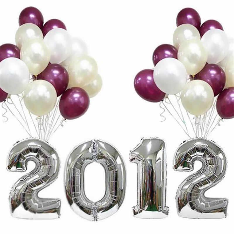 """1 pc 16 """"/32"""" figuras folha ouro & prata número balão float ar inflável bolas para festa de aniversário de casamento decoração crianças brinquedos"""