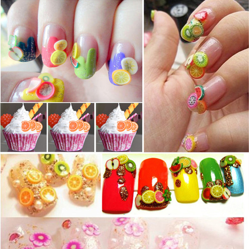 Clay nail art image collections nail art and nail design ideas diy nail art 3d decorations fruit flower cake butterfly polymer diy nail art 3d decorations fruit prinsesfo Choice Image
