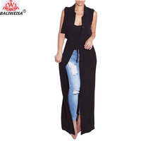 BALIWEISA Long Chiffon Cardigans Women Spring Summer Sleeveless Blouses Belt Solid Color Clothes Loose Casual Ladies Long Shirts