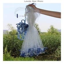 Lawaia black cast net American style cast net hand throw fishing net with sinker outdoor sport fishing network tool