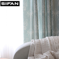 Blue Printed Window Curtains For The Bedroom Fancy Children Modern Curtains For Living Room Kids