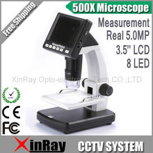 """Big discount Professtion Digital 500X Microscope Real 5.0MP 3.5"""" Display USB Standalone Microscope with SD Card Lithium Battery UM038"""