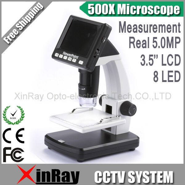 WINMAX Professional  Standalone Digital 500X Microscope Real 5.0MP 3.5'' LCD Display  With 8 LED SD Card Lithium Battery ,XR038 real 5mp 500x professional standalone digital microscope 8 leds 3 5 lcd display support usb sd card with tv out
