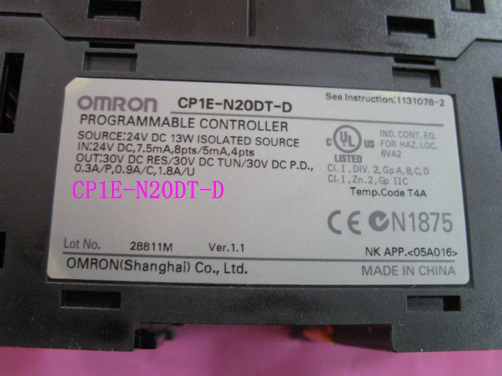 Контроллер PLC контроллер двигателя CP1E N20DT D DC 24V вход 12 точечный транзистор выход 8 точек CP1E N20DT D N20DT ЦП для Omron