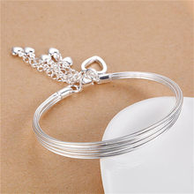 Pure Silver 925 Bangle Bracelets for Women Hearts Tassel Wrist Cuff Bangles Wristband Pulseira Femme Wedding Bridal Jewelry(China)