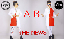 S-5XL ! 2016 Bigabng GD Men's brand stage singer red and white stitching fake two long coat the nightclub costumes clothing