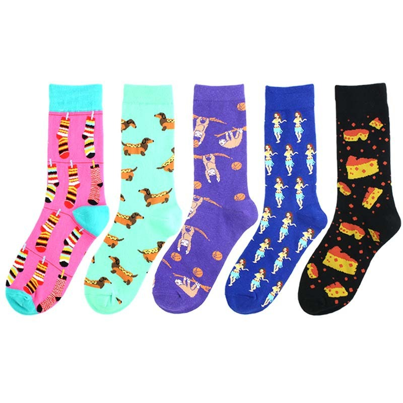 PEONFLY New 2019 Autumn Winter Socks Men Harajuku Style Colorful Cartoon Dog Pizza Cotton Sokken Hip Hop Casual Happy Socks