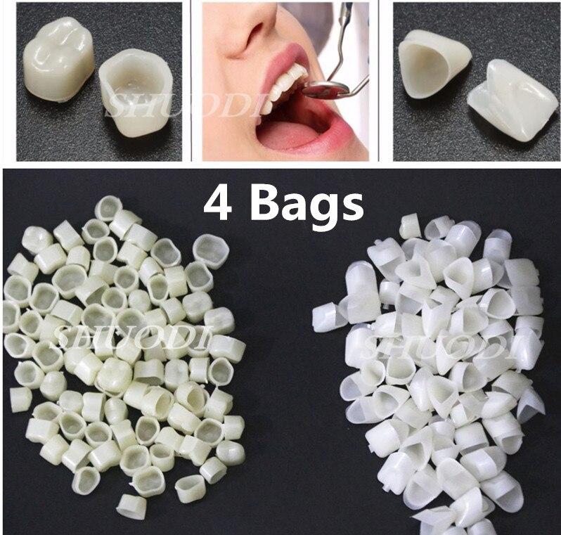 4 сумки, зубные, временные зубные зубцы, поликарбонатные колпачки, шпона, короны, Акриловые протезы (приблизительно 100 шт. в пакете)