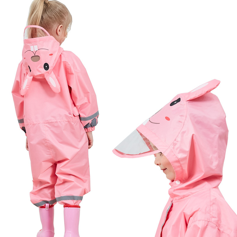 M//For 3-5 Years Kids Rainsuit Waterproof Coverall Raincoat All-in-One Suit