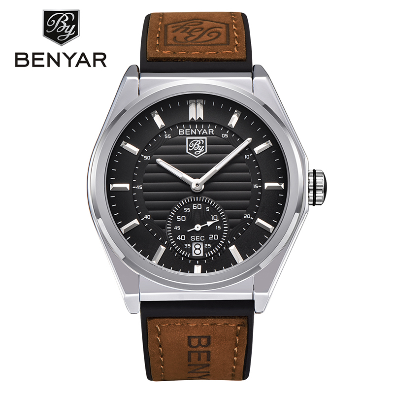 BENYAR Business Men Quartz Watches Auto Date Display Scratch Proof Glass Water Proof Silicone Genuine Leather Band Gift