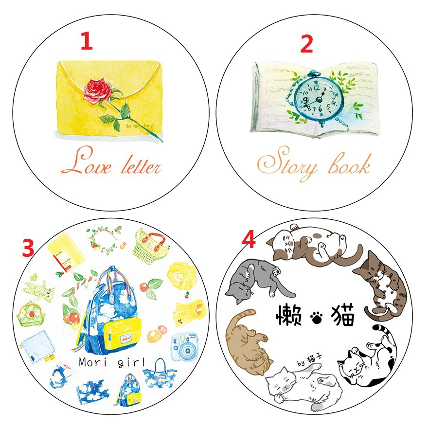 7mm Story Book Love Letter Mori Girl Cat 7M Washi Paper Tape Paper Masking Tape Memo Pad