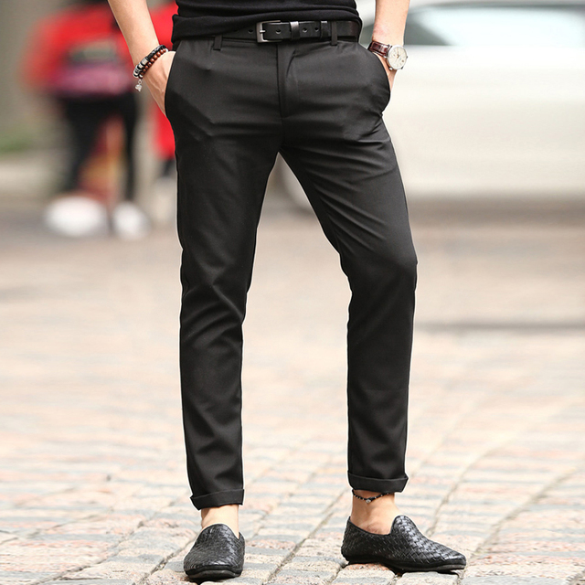 50df0dbf971 Men 2017 summer spring fashion trousers men solid slim fit straight pants  men casual cotton high
