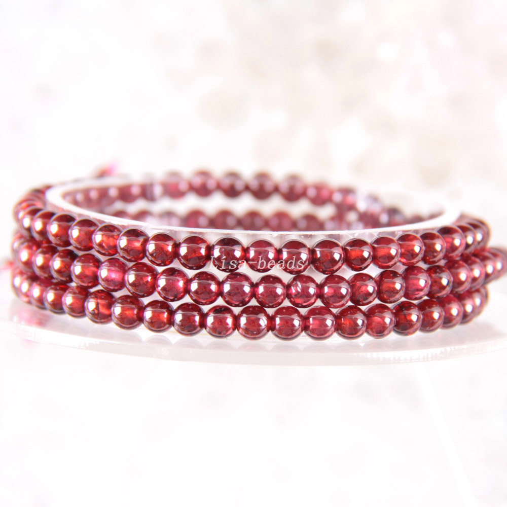Free Shipping Fine Jewelry Stretch Red Round Beads 4MM AA 100% Natural Garnet Bracelet 21 with Box 1Pcs J028 free shipping fine jewelry stretch red round beads 9mm aa 100
