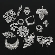 New Arrival Geometry Pierced Design Flower Leaf Filigree Metal Crafts Connector For DIY Necklace&Earring Jewelry Findings(China)