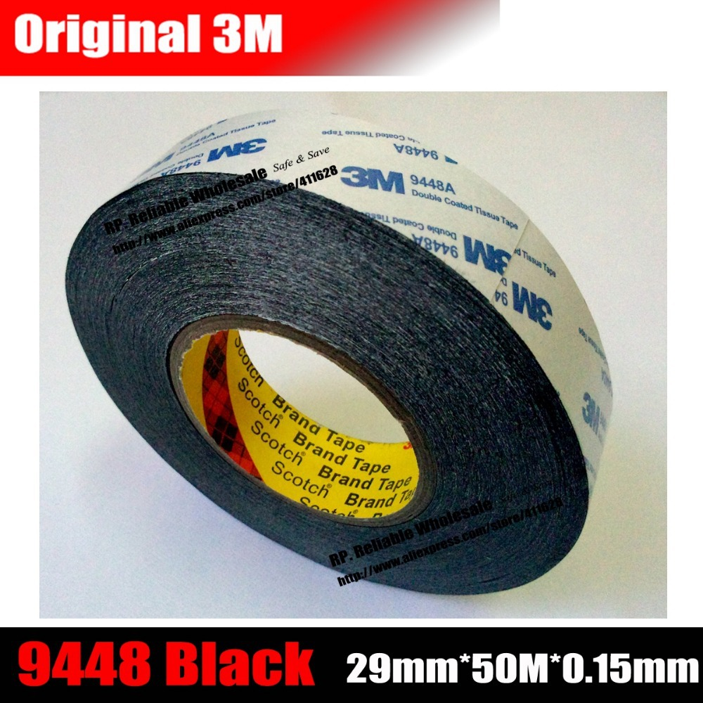 (29mm*50M*0.15mm) Origianl 3M Black Glue Double Adhesive Tape for Nameplate, Phone Tablet Touch Screen Glass Repair