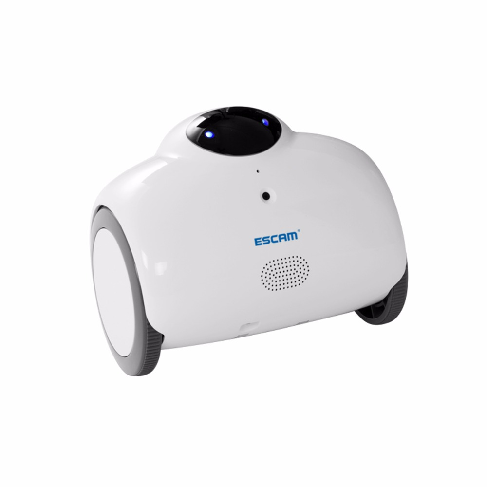 ESCAM QN02 Robot 720P WiFi Mobile Camera Touch Interactive Move Laugh Automatically Charge Support Remote Video - White