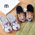 Millffy 3D printing husky leopard couple cotton slippers simulation animals indoor warm non-slip home slippers