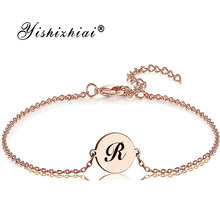 Dainty Initial Letter Bracelet Stainless Steel Custom Name pendant Bracelets Women Personalized Jewelry Bridesmaid Gift