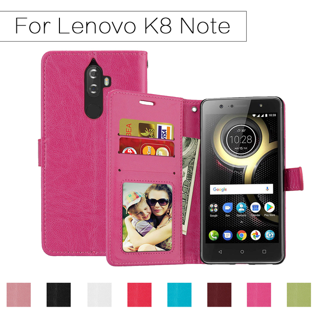 US $3 99 20% OFF Wallet Case For Lenovo K8 Note Flip Cover PU Leather Stand  Holder 3 Card Cases Magnetic For Lenovo K 8 note Shells Silicone Bags-in
