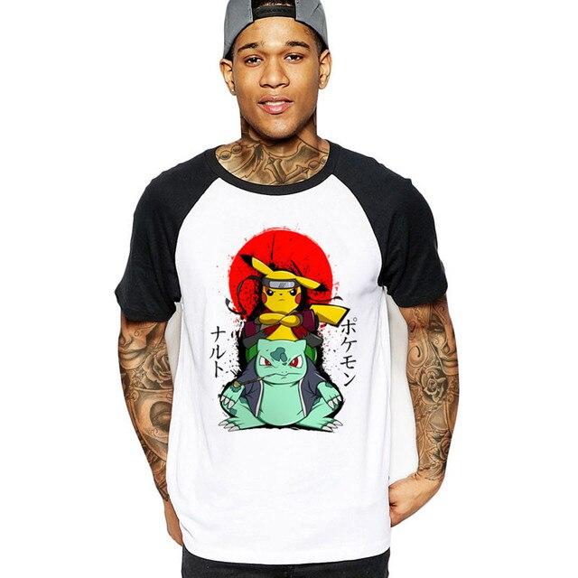 competitive price 05c86 07d9d US $5.5 45% OFF|Aliexpress.com : Buy 2019 streetwear PIKUTO pikachu &  bulbasaur x naruto 2 pokemon Men T Shirt japan anime cotton hombre t shirts  ...
