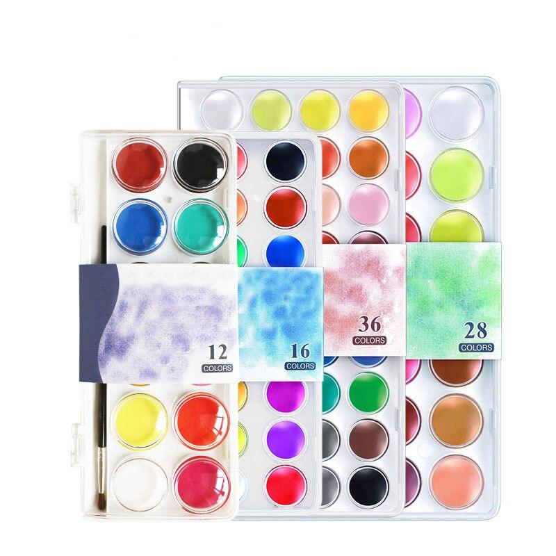 12/<font><b>16</b></font>/28/36 Colors <font><b>set</b></font> Solid <font><b>Watercolor</b></font> Cake Outdoor <font><b>Paint</b></font> Pigment <font><b>Set</b></font> Transparent Box <font><b>Watercolor</b></font> Painting Supplies
