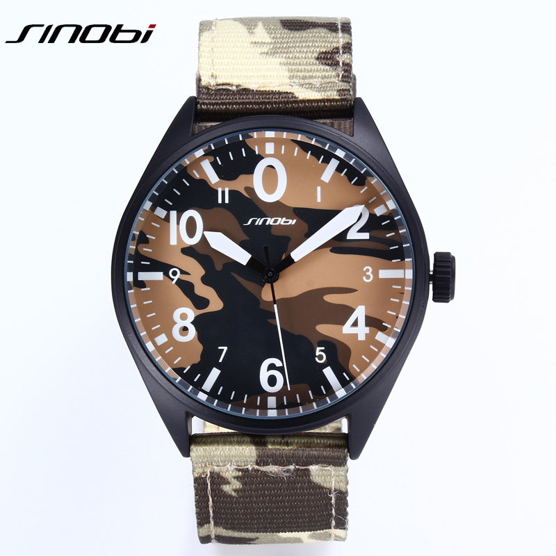 Camouflage Quartz Wrist Watch Men Army Military Fashion Casual boy Wristwatch Outdoor Faric 2017 New Sinobi relojes Hombre Clock sinobi double quartz wristwatch for leather watchband men s golden fashion wrist watch brand males clock relojes hombre 2016 new