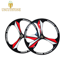 цена на Mountain bike magnesium alloy wheel 26 inches 3 spokes Cassette Bicycle Wheel MTB bike Disc Brake rims