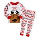 Natal Do Bebê Dos Miúdos Meninos Calças & Camisa de manga longa conjuntos de pijama sleepwear PJ Alce algodão Para Meninos Conjunto De Pano Novo do Presente Do ano
