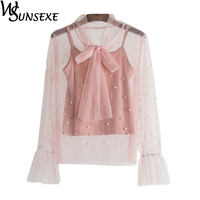 Pearl Beading Lace Shirts Women Spring 2 Pieces Sexy Hollow Out Mesh Flare Long Sleeve Bow