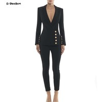 ERDAOBEN 2018 New Fashion Winter Woman Sets Long Sleeve Jacket&Pants 2 Two Pieces Set Night Out Celebrity Evening Party BH5695
