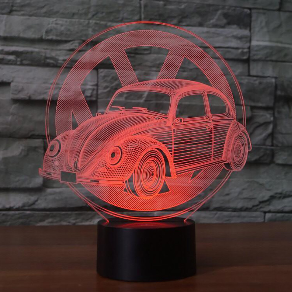 Creative Car Sign 3D light Night Light 7 Color Change Acrylic LED Table Lamp USB light Bedroom as Gift for Decoration Drop Ship