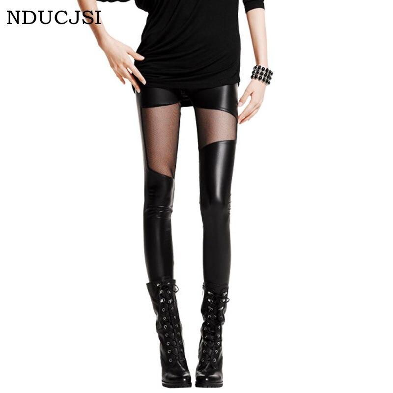 Nducjsi 2019 Summer Women Sexy Club Slim Mid Waist Leggings Mesh Gothic Leather Legging Female Patchwork Stretch Black Leggings