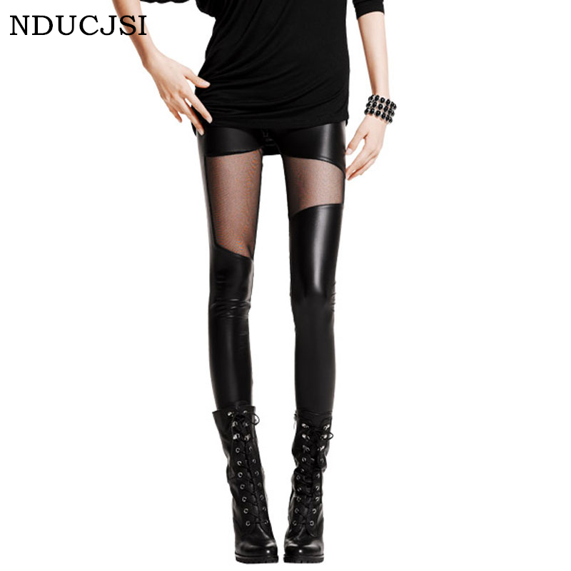 NDUCJSI 2018 Summer Women Sexy Club Slim Mid Waist Leggings Mesh Gothic Leather Legging Female Patchwork Stretch Black Leggings