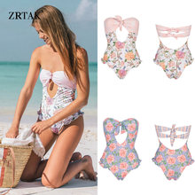 Zrtak 2019 Sexy Bandage One Piece Swimsuit Floral Backless Swimwear Women Hollow Out biquini Mujer Bathing Suit One-Piece Suits