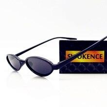 0c8410af81 SWOKENCE ronda moda estrecho marco gafas de sol mujer hombre marca  diseñador Retro individualidad gafas de sol hombre mujer SA71