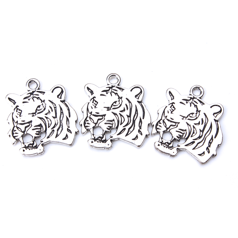 5pcs/lot 28 x 23mm Tiger Charms Antique Silver Tone 2 Sided Tiger Head for lucky charms jewelry accessories necklace pendant