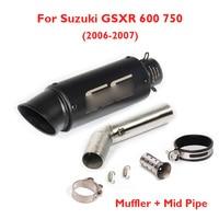 GSXR 600 GSXR 750 Motorcycle Exhaust Muffler Exhaust System Middle Mid Link Tube Slip on for Suzuki GSXR 600 750 2006 2007