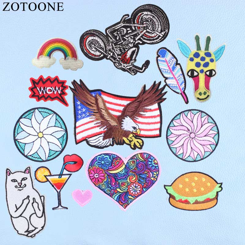 ZOTOONE Patches Heart Cheap Embroidered Applique Badges Stickers For Clothes Skull Alien Patch Iron On Jean Finger Cartoon Cat A ...