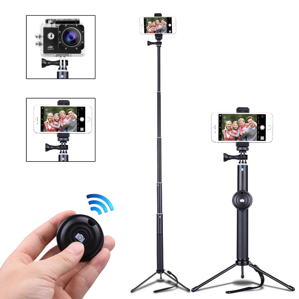Cell Phone Tripod With Bluetooth Remote Control Mobile Phone Selfie Stick Mini Tripod for Sport Camera Light Monopod with Clip universal cell phone holder mount bracket adapter clip for camera tripod telescope adapter model c