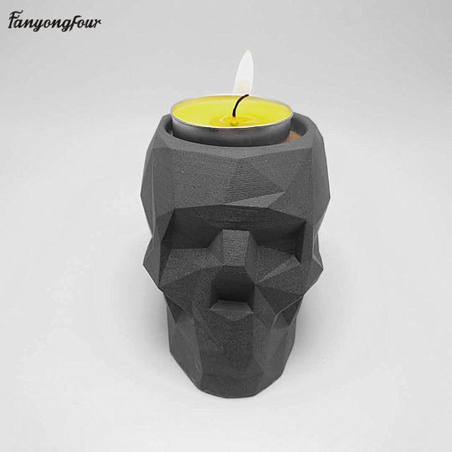 3D geometry skull candlestick mold concrete silicone mold diy cement plaster mold home decoration tools