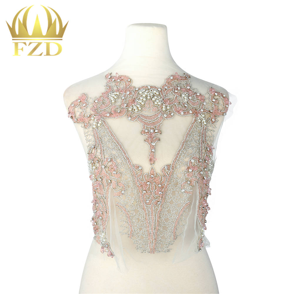 Diy Wedding Gowns: 1 Piece Light Pink Crystal Stone Patches And Rhinestone
