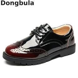 2019 nowe chłopięce skórzane buty szkolne dla dzieci Student Performance buty weselne czarne Casual mieszkania lekkie dziecięce mokasyny w Skórzane buty od Matka i dzieci na