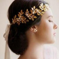 Gold Leaf Vintage Bridal Headband Handmade Pearl Wedding Prom Headpieces Hair Accessories
