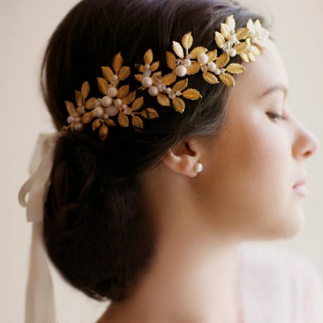 jonnafe gold leaf vintage tiara bridal headband pearl hair jewelry wedding accessories tiaras and crowns women