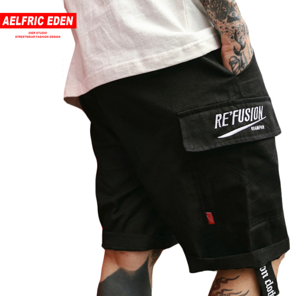 Aelfric Eden 2018 New Summer Shorts Men Kanye West Cargo Shorts Mens Shorts With Pockets Ribbons Knee Length Shorts As081