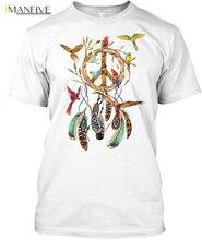 цены на Peace Dreamcatcher Parrot Popular Tagless Tee T-Shirt Streetwear harajuku Print Cotton funny t shirts men  в интернет-магазинах