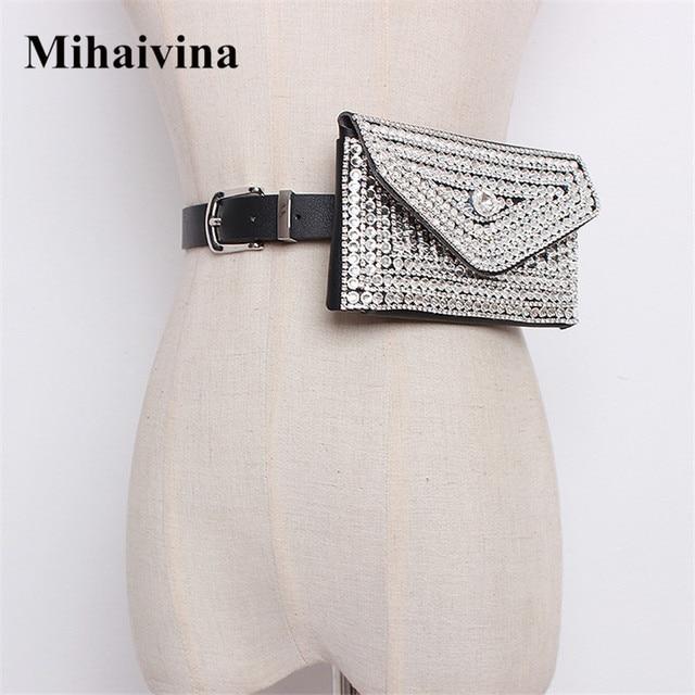 Mihaivina Diamonds Women Waist Bag Fashion Belt Bag Fur Fanny Pack Luxury Waist Pack Phone Bags Detachable Women Belt Bum Bag