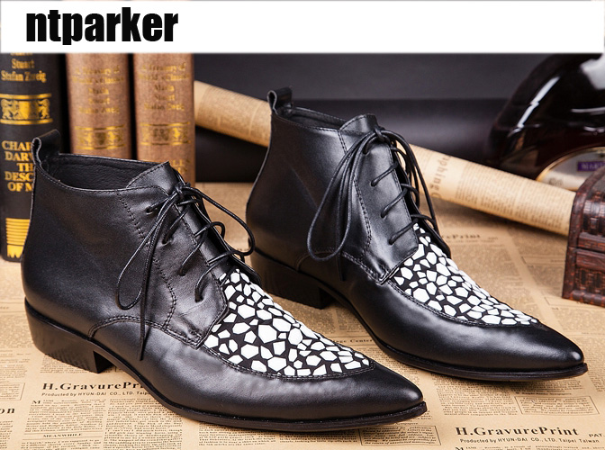 ntparker Men's Boots Lace-up Black Leather Boots Pointed Toe Fashion Leather Shoes Men Italian Style Designer's Botas, Pluz Size new style black triangle metal decoration fashion style pointed toe lace up men party nightclub men leather leisure shoes macho